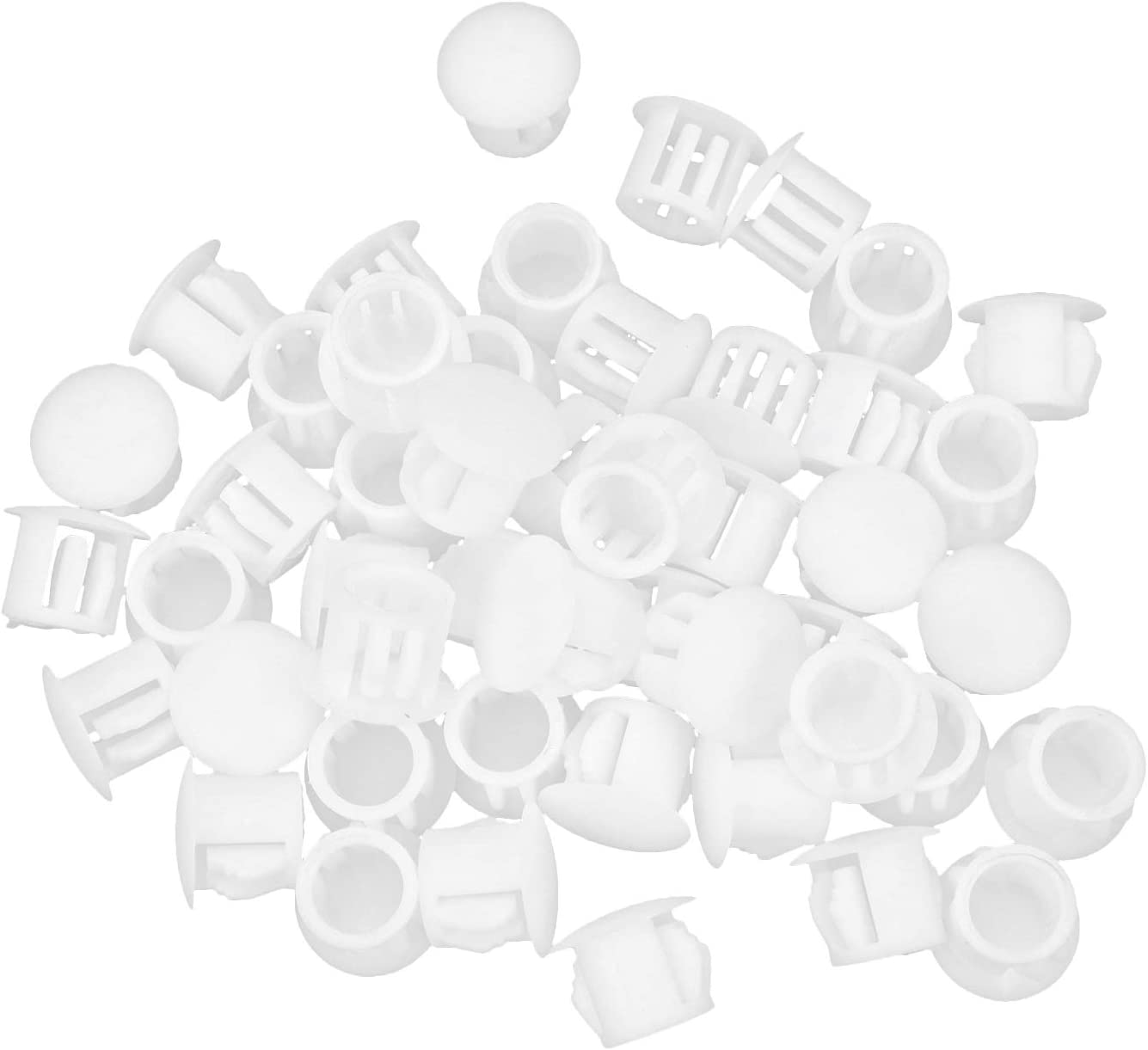 Coshar 50pcs 3/8 Inch Locking Hole Plugs Plastic Panel Hole Cover, Fit for 10mm Holes, White