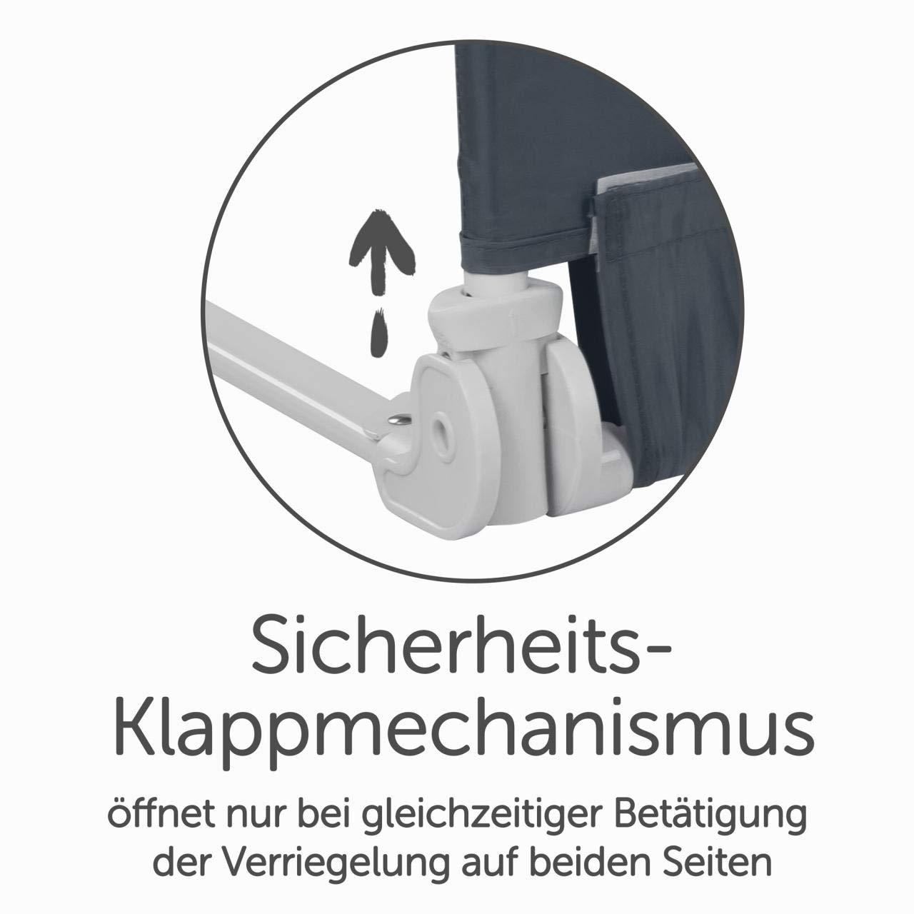 Bettgitter 150 cm Bettschutzgitter Kinderbettgitter Babybettgitter Gitter Kinderbett Fallschutz Bett Darkgray