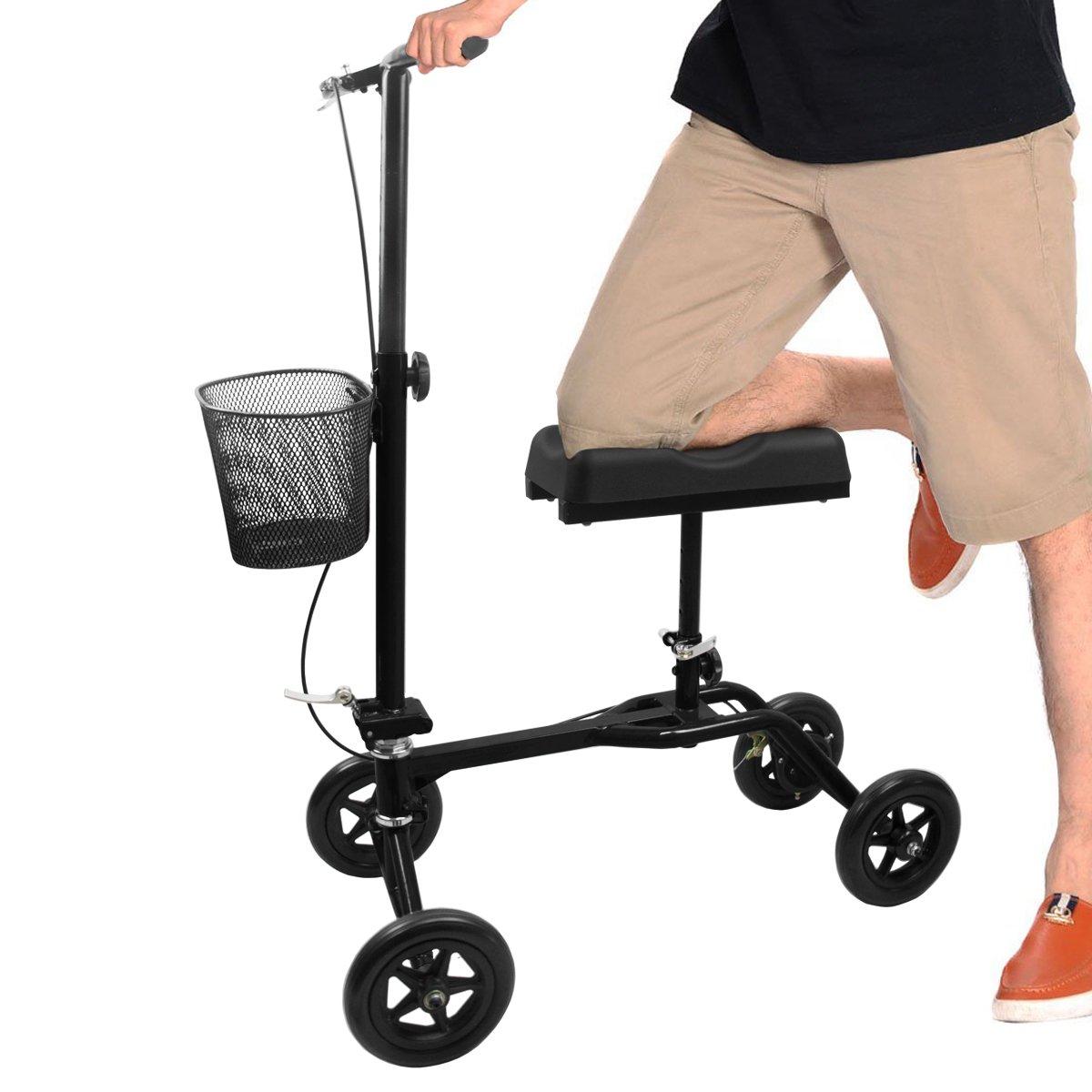 Steerable Knee Scooter Knee Roller Walker for Adult Broken Foot with Basket and Foot Cover (Black)