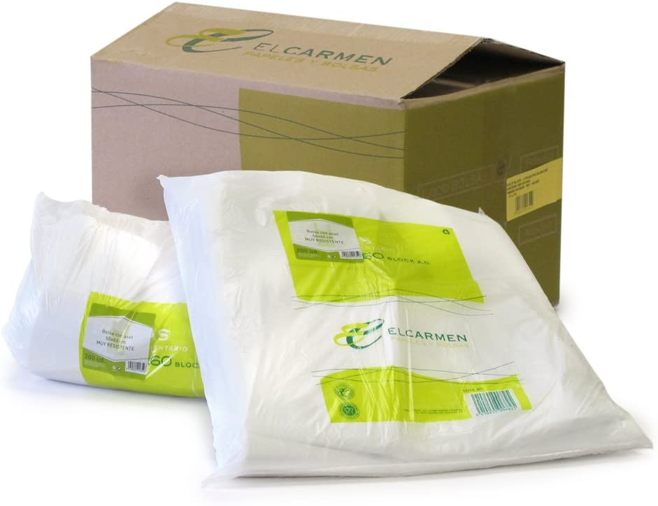 Papeles El Carmen Bolsa Tipo Camiseta, Blanco, 50x60cm, 200 Unidades