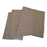 Superior 100% Cotton Thermal Blanket, Soft and Breathable Cotton for All Seasons, Bed Blanket and Oversized Throw Blanket with Woven Stripe Pattern - Full/Queen Size, Ivory & Chocolate Stripes