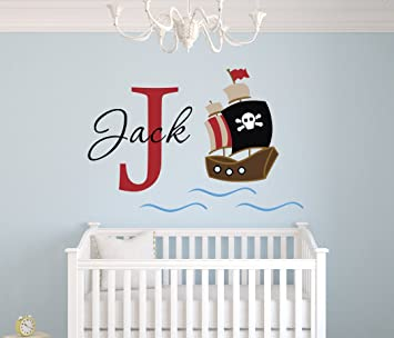Personalized Pirate Name Wall Decal   Pirate Boy Room Decor   Nursery Wall  Decals   Pirate