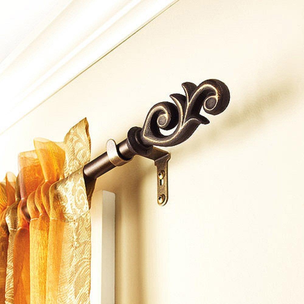 Curtain rod styles - Amazon Com Better Homes And Gardens Flourish Curtain Rod 5 8 Rod Diameter 28 48 Home Kitchen