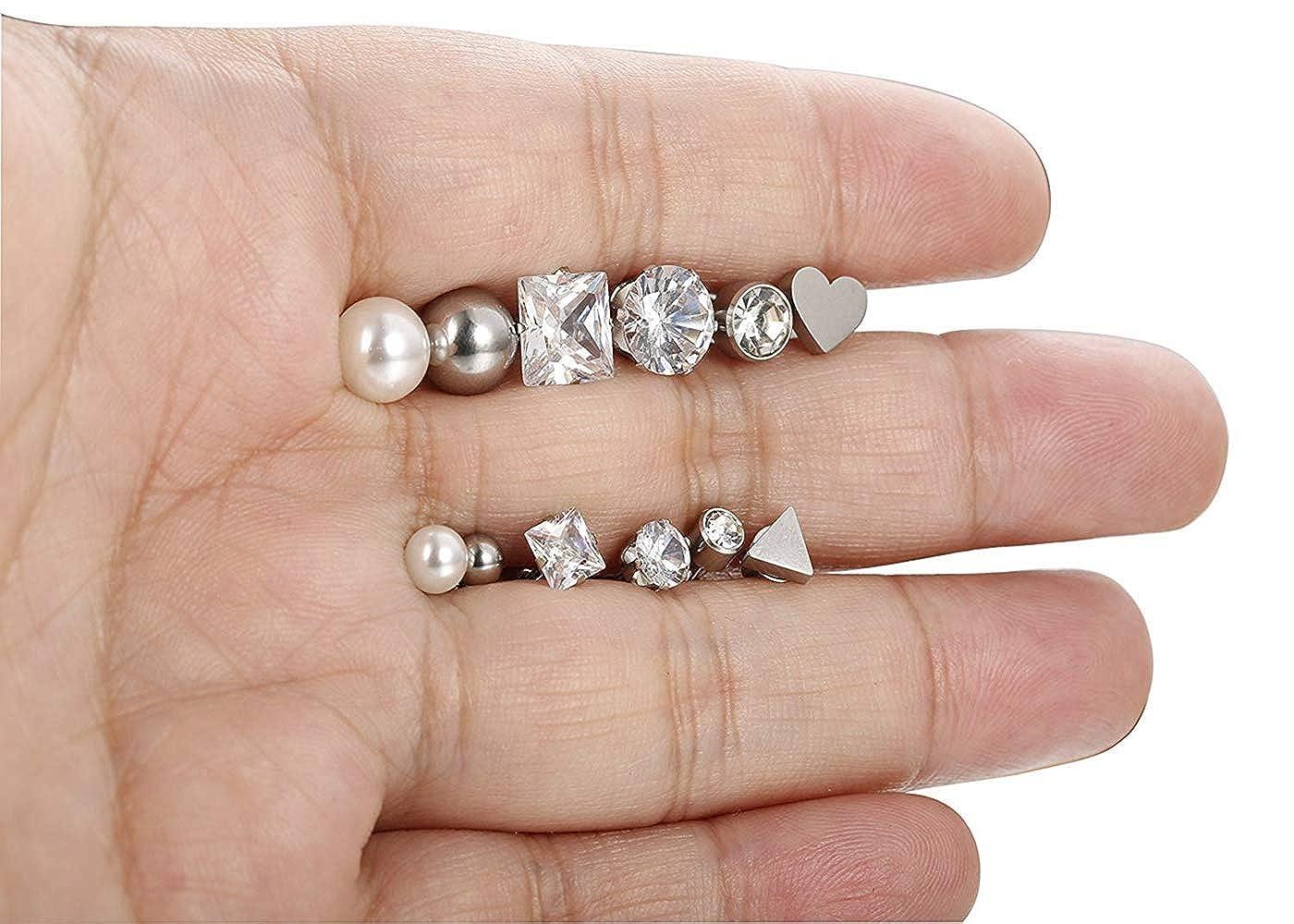 sailimue 12 Paires Boucles doreille en Acier inoxydable pour Femme Filles Ballon C/œur Triangle Faux Perle CZ Clou doreille