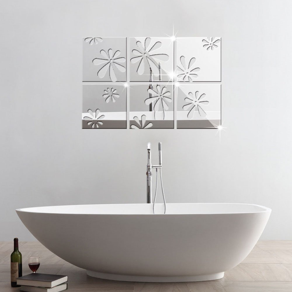 TM 20x20cm Silver 6 Pcs Squares Reflective Mirror Surface Creative Decor Art DIY 3D Acrylic Crystal Mirror Wall Sticker Living Room Bedroom Ceiling Mural Decal Home Decoration Alrens