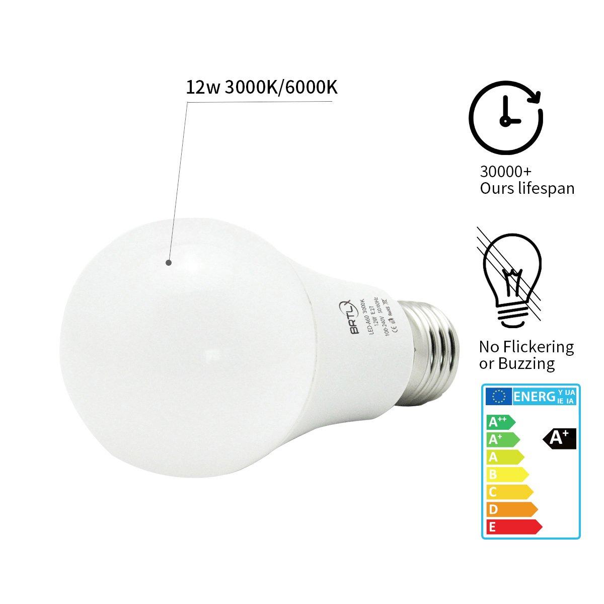 Brtlx E27 Led Bulbs A60 12w Warm White 3000k Edison Screw Light Bulb