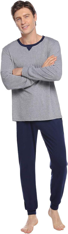 Abollria Schlafanzug Herren Zweiteiliger Pyjama kurz Baumwolle Schlafanz/üge Anzug Shirt Hose Kurze Sommer Shorty Sleepwear Loungewear