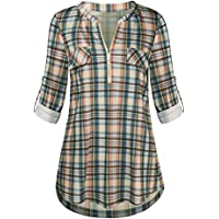BEAUTYVAN Henley Camisas para mujer, a cuadros de manga larga con cuello en V, blusa de túnica con dobladillo curvado