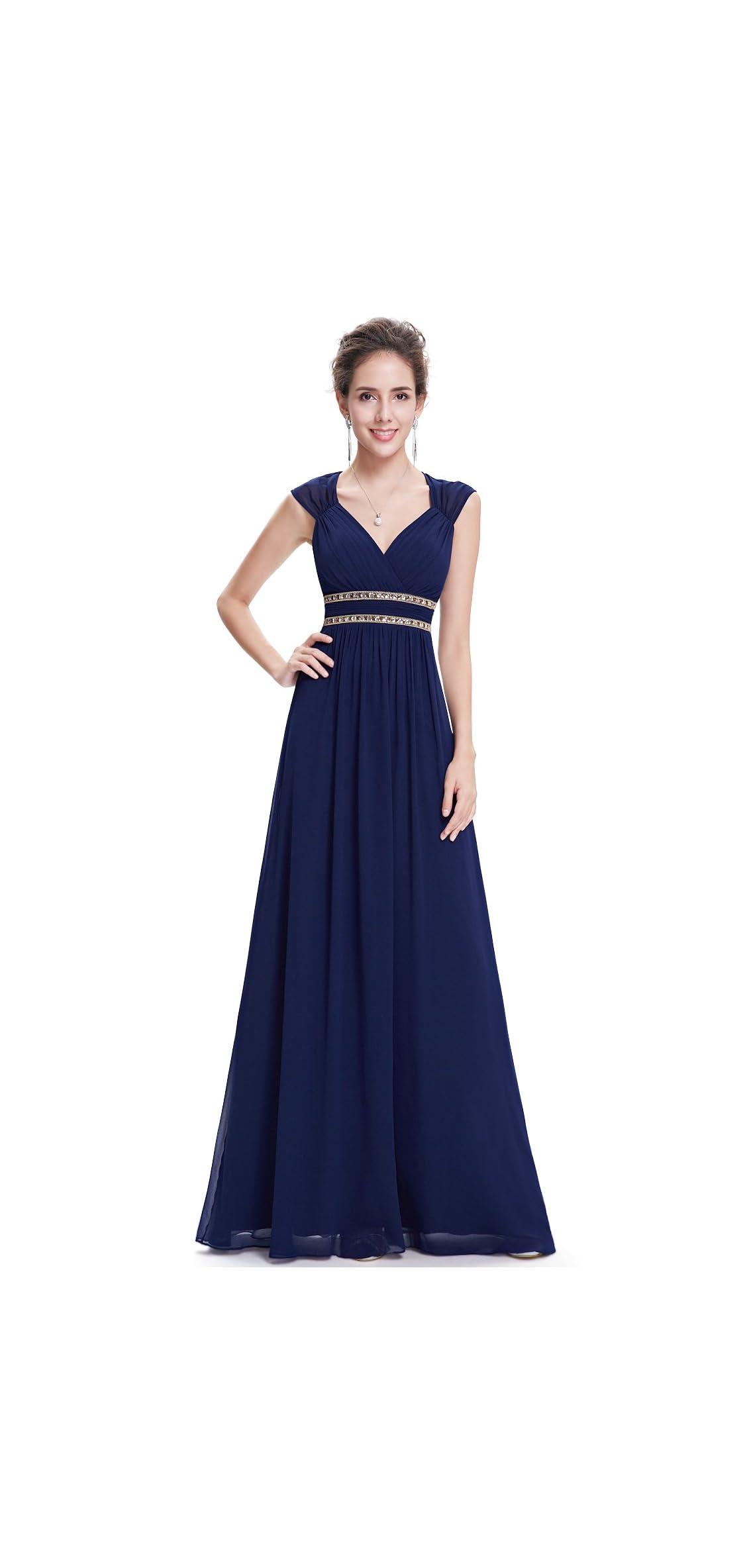 Women's Elegant V-neck Sleeveless Formal Long Dress