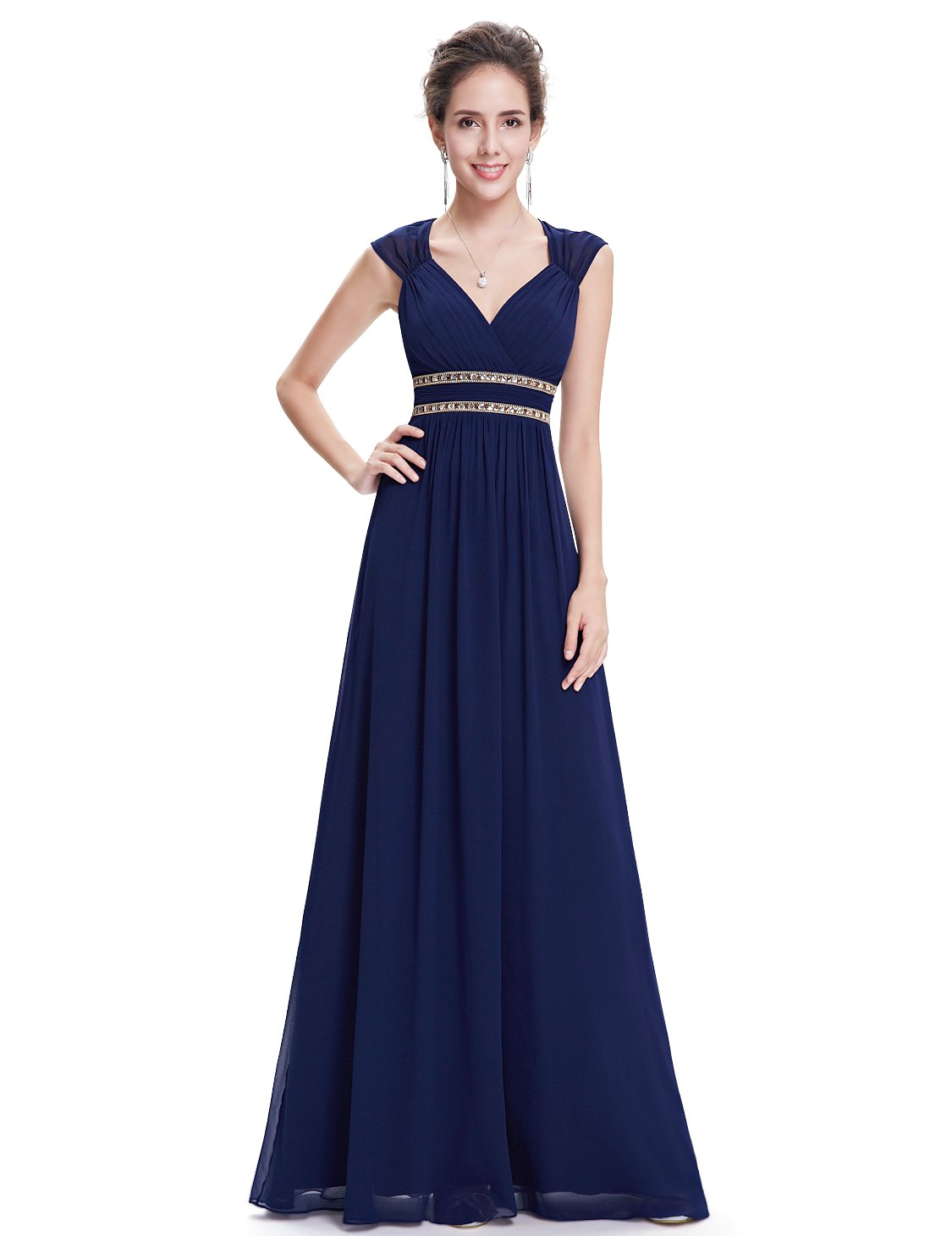 Ever-Pretty Womens Floor Length Beaded Grecian Style Military Ball Dress 6 US Navy Blue by Ever-Pretty (Image #4)