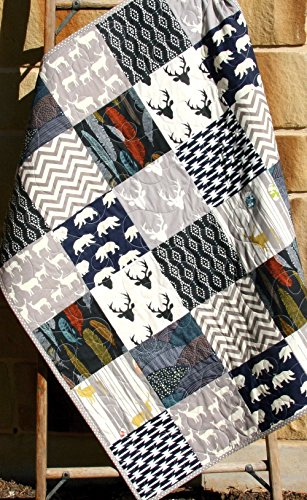 Woodland Boy Quilt Baby Bedding Modern Aztec Elk Deer Bears Feathers Antlers Navy Blue Grey Buck Chevron Handmade Crib or Toddler Size by Sunnyside Designs