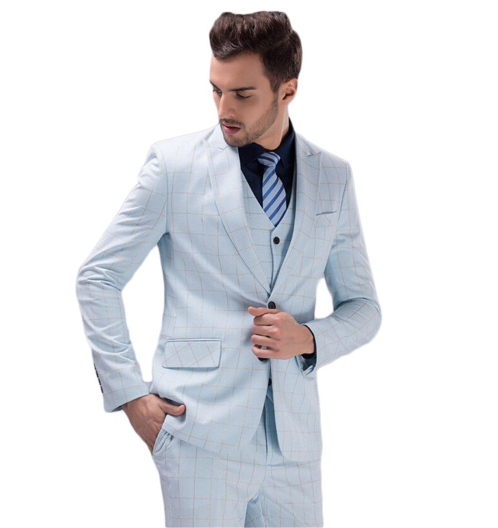 Love Dress Men's Thin White and Light Blue 3-Piece Wedding Men Suit Light Blue 5XL