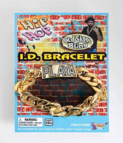 Forum Novelties Men's Hip Hop Playa Novelty ID Bracelet, Gold, One Size