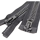 Meillia #10 Two Way Separating Jacket Zipper Heavy Duty Plastic Zipper Black Large Resin Zippers for Sewing Coat Jackets…