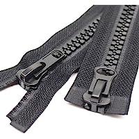 Meillia #10 Two Way Separating Jacket Zipper Heavy Duty Plastic Zipper Black Large Resin Zippers for Sewing Coat Jackets…