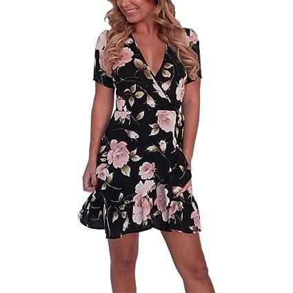 Vestidos Mujer Verano 2018,Las mujeres bohemio escote V vestido de flores de manga corta