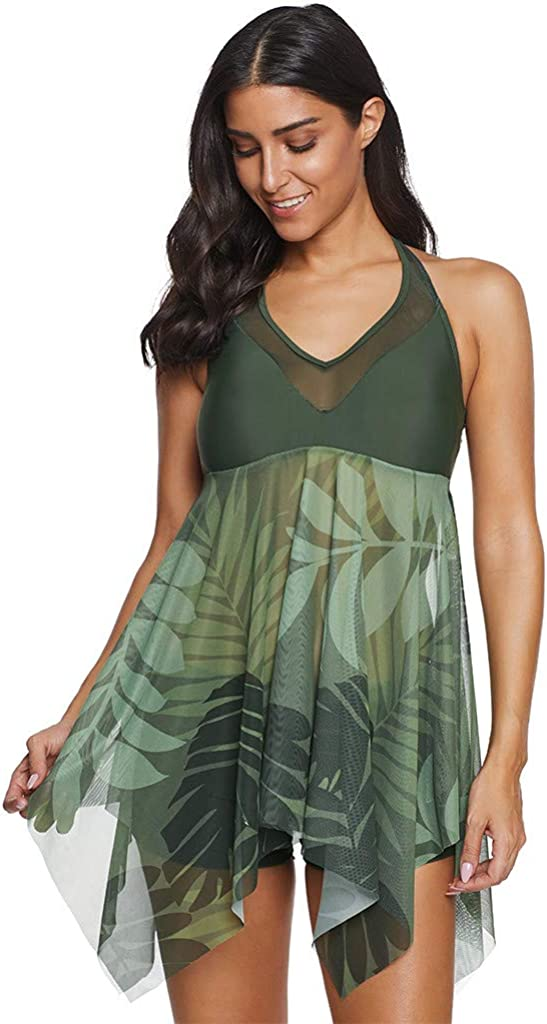 ZEFOTIM Plus Size Swimdress,Women Plus Size Takini Mesh Patchwork Print Swimsuit Beachwear Padded Swimwear