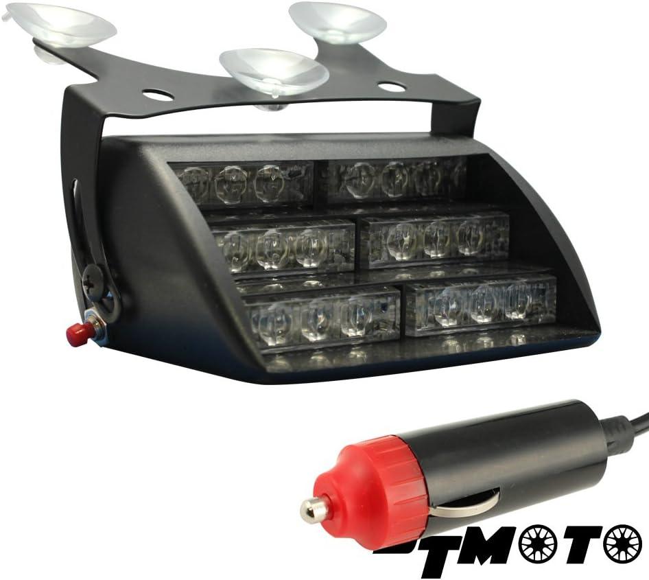 Red//White Interior Flashing Warning Strobe Lights 9 16-Watt LED Emergency Dash Light for Vehicles w//19 Modes and IP65 Waterproof Rating
