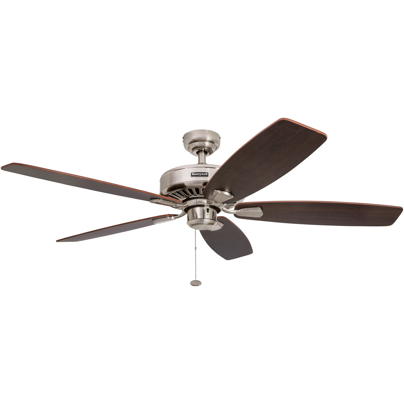 Honeywell Sutton 52-Inch Ceiling Fan, Energy Star Certified, Five Reversible Burnt Maple/Light Oak Blades, Brushed Nickel