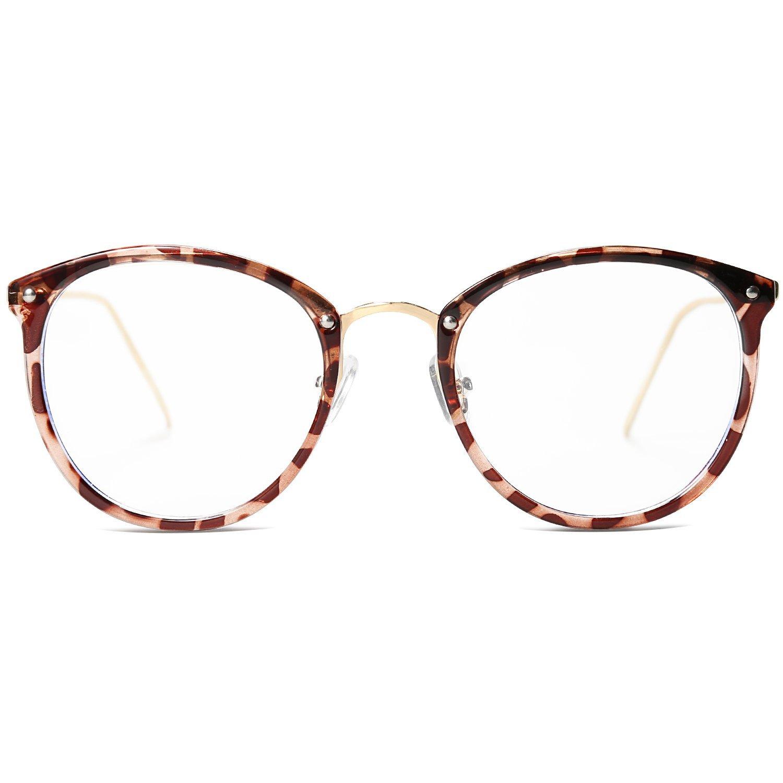 VANLINKER Clear Lens Eyeglasses Anti Blue Light Computer Reading Glasses VL9001 C1 Leopard Print Frame/Anti-Blue Light Lens