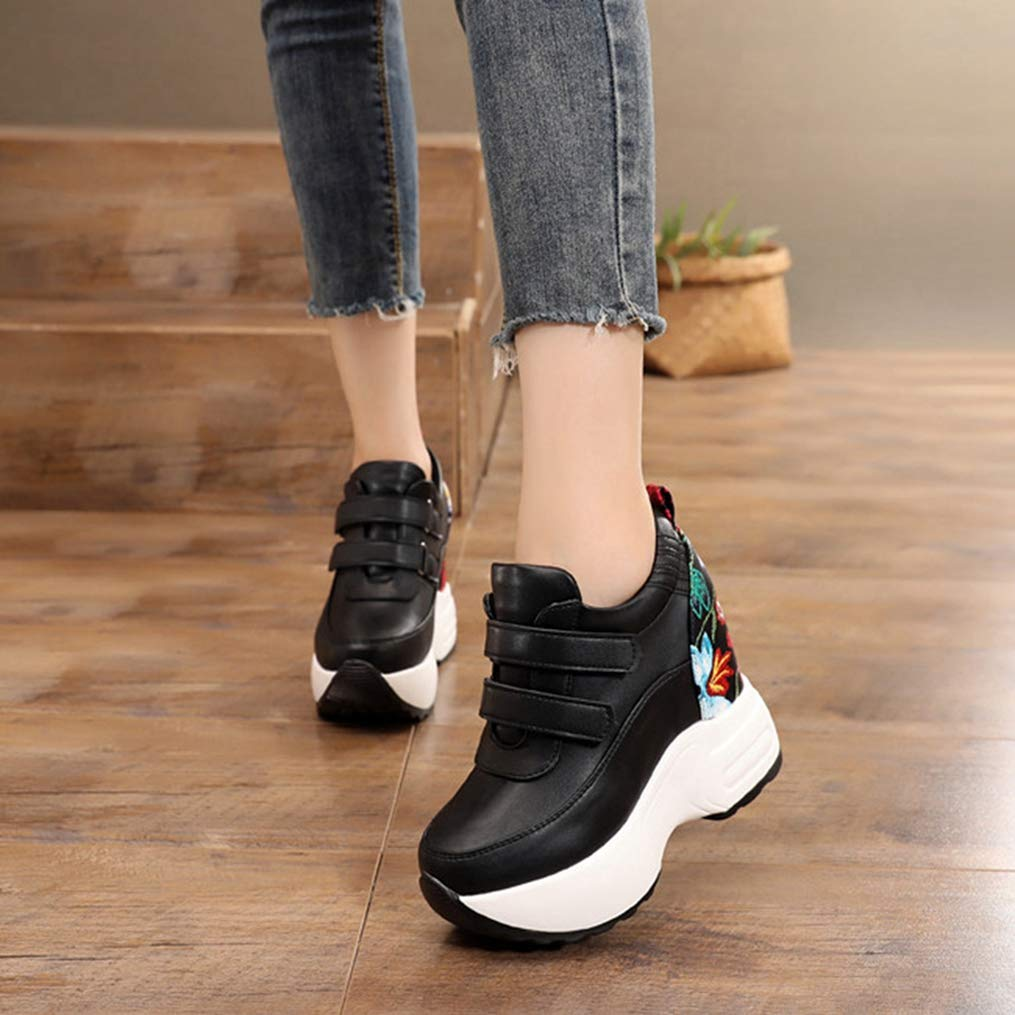T-JULY Fashion Spring Women Casual Shoes Height Increasing Breathable Ladies Walking Shoes Hidden Wedge Sneakers