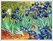 La Pastiche VG1615-FR-32094136X48 Irises with Moderne Blanc Framed Hand Painted Oil Reproduction, 36X48, Multi