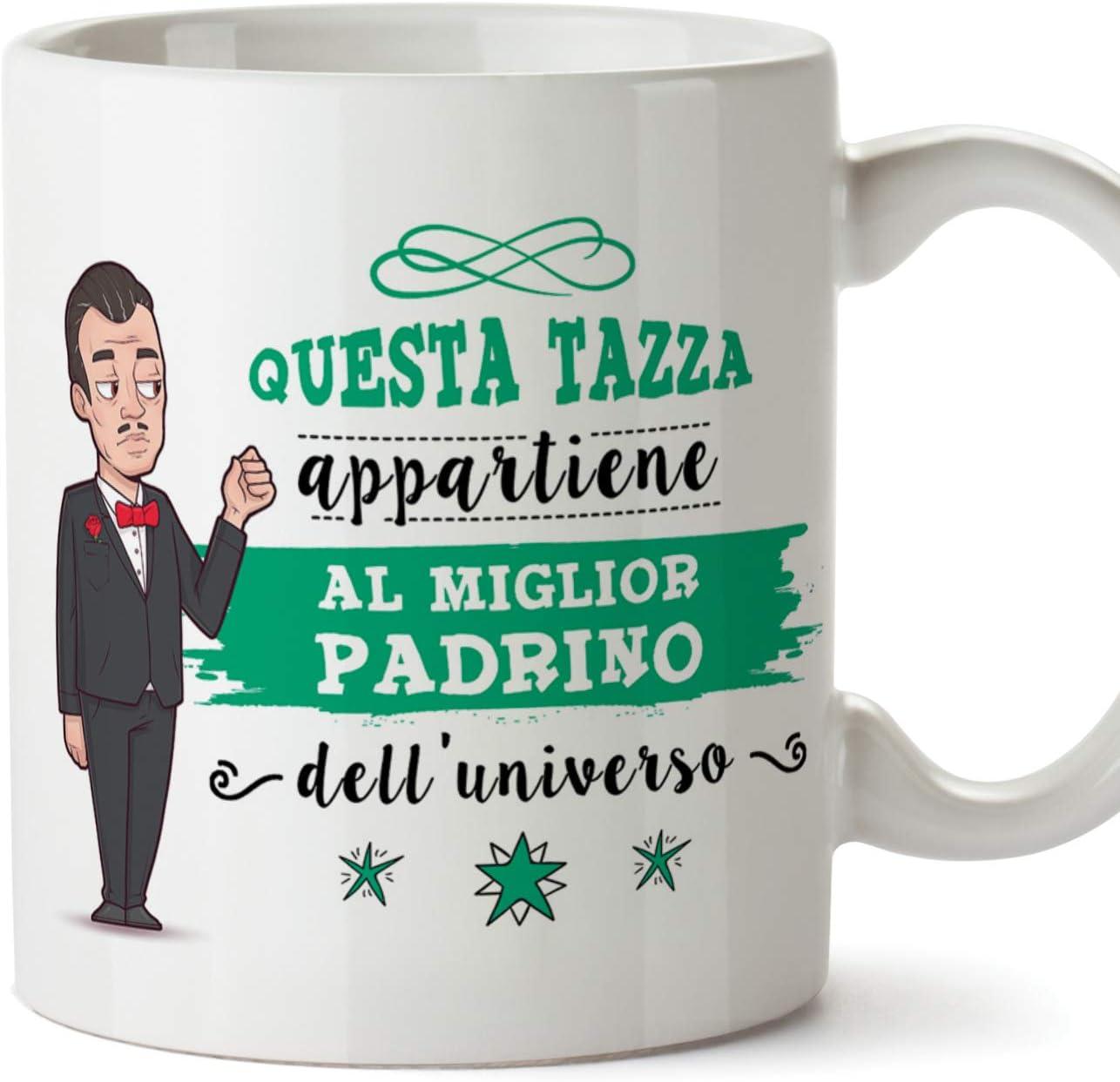 MUGFFINS Padrino Tazza/Mug - Questa Tazza Appartiene al Miglior Padrino dell'Universo - Idea Regalo Giorno di Pasqua/Battesimo - Tazza Miglior Padrino