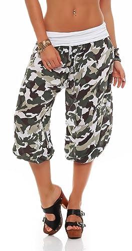 malito corto pantalónes deportivos con camuflaje Print Sweatpants Boyfriend 8018 Mujer Talla Única (blanco)
