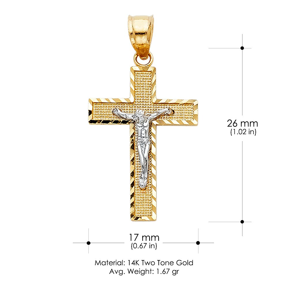 14K Two Tone Gold Jesus Crucifix Cross Charm Pendant with 1.1mm Wheat Chain Necklace