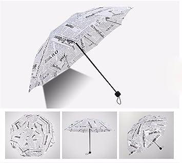 SSBY Retro el periódico plegado paraguas mujer paraguas de doble uso para la estación lluviosa y
