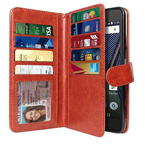 NEXTKIN Moto G5 Plus Case, Leather Dual Wallet Folio TPU Cover, 2 Large Pockets Double flap Privacy, 9 Card Slots Snap Button Strap For Motorola Moto G5 Plus 5.2 inch - Dark Brown - Leather Dual Pocket