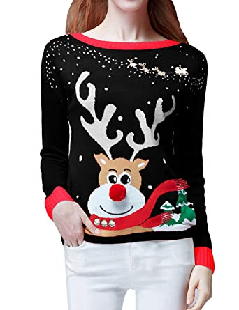 v28 ugly christmas sweater womens ladies girls cute reindeer 3d nose sweaterxs - Cute Ugly Christmas Sweater