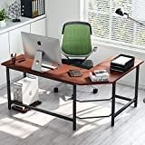 Tribesigns Modern L-Shaped Desk Corner Computer Desk PC Laptop Study Table Workstation Home Office Wood & Metal (Dark Teak + Black Leg)