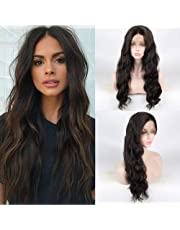 Shengqi Outdoor Women's Natural Body Wave Hair Synthetic Lace Front Wig Glueless 250% High Density American Heat Resistant for All Skin Women (Brown)
