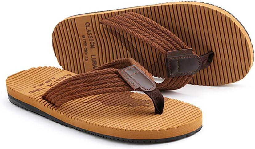 Color : Brown, Size : 41 GLJJQMY Brown Comfortable Flip Flops Summer Mens Flat with Indoor Non-Slip Slippers Shock Absorption Sandals flip Flop