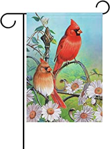 Wamika Cardinal Birds Daisy Flowers Spring Garden Flag 12 x 18 Double Sided Flags Sunflower Floral Butterfly Welcome Summer Yard Outdoor House Flag Banner Home Hummingbirds Decorations