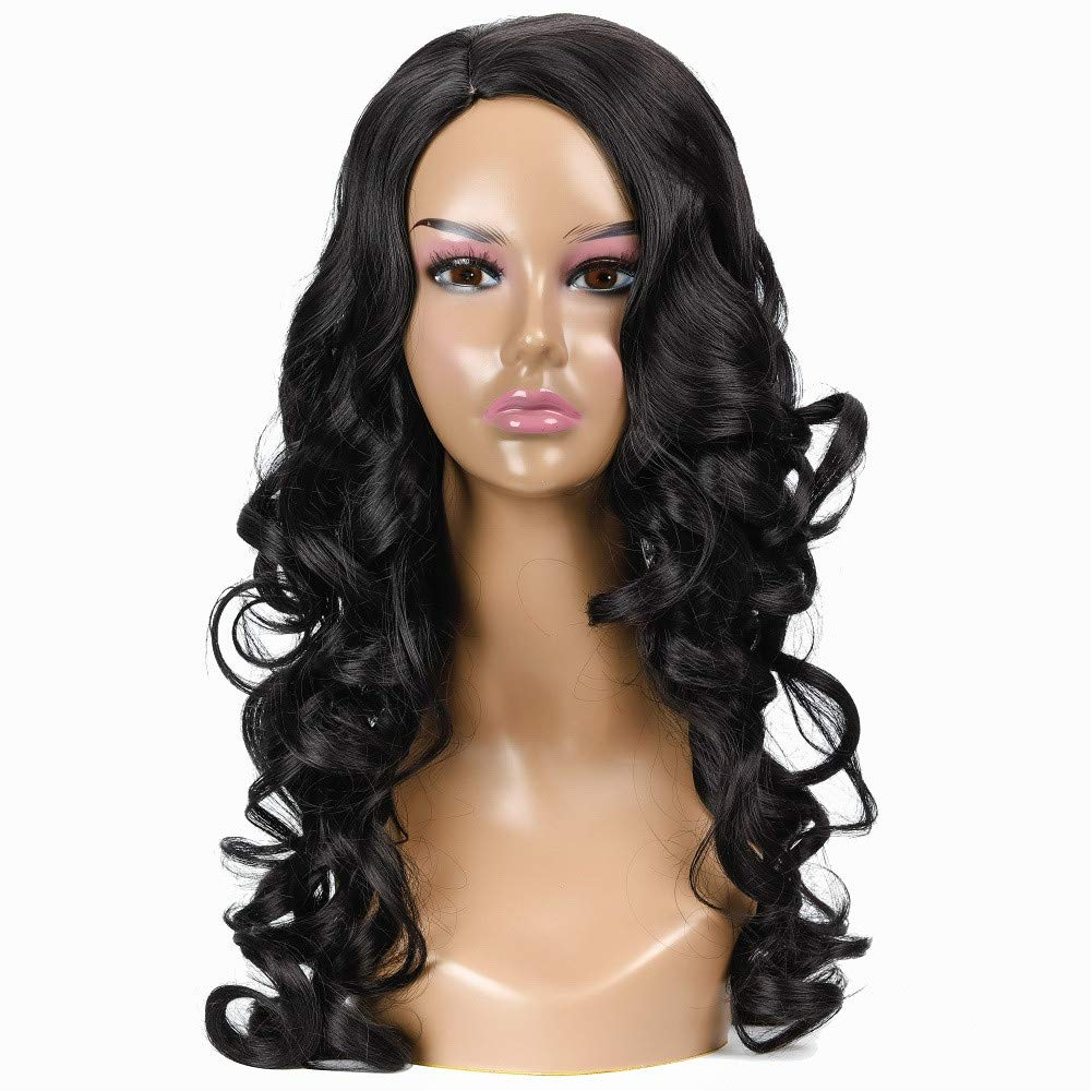 Women Black Curly Wig, Long Sexy and Comfortable Curly Wavy Wig, 55CM Heat Synthetic Natural Curly High Density Black Natural Wigs with Wig Cap by MIYA LTD