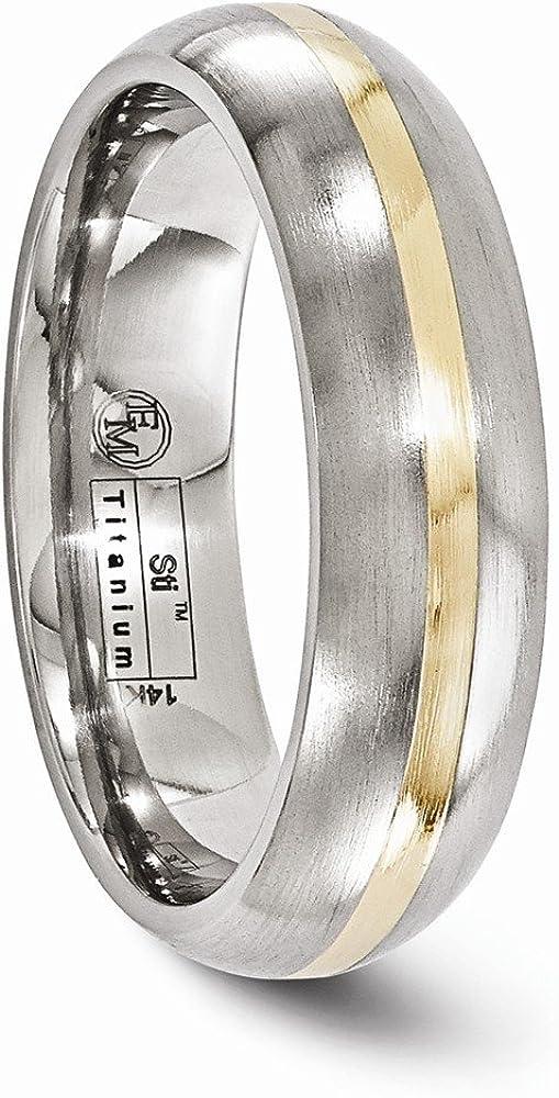 FB Jewels Solid Edward Mirell Titanium And 14K Brushed 6mm Wedding Band