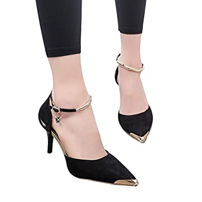 7f566216513 Qisc Womens Sandals Women s Pointed Toe Ankle Strap D Orsay Cut Out High  Stiletto Heel
