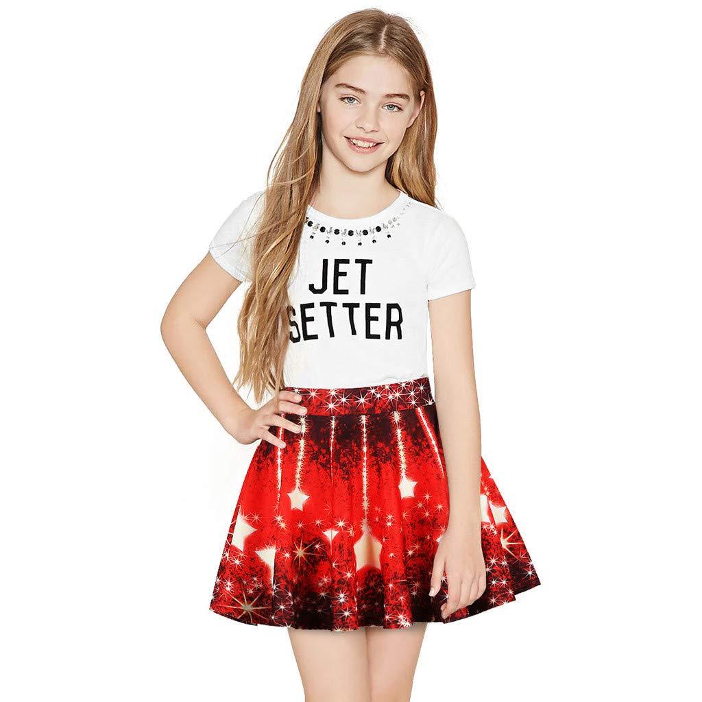 NUWFOR Toddler Kids Girl Galaxy 3D Digital Printing Princess Casual Pleated Tutu Skirt(Red,7-8 Years)