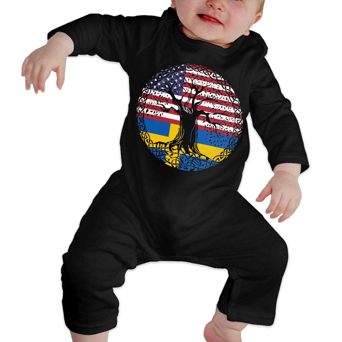 YUE--3BODY American Heart Swedish Flag Roots Baby Girl Long Sleeve Infant Cotton Bodysuits