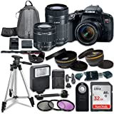 Canon EOS Rebel T7i Digital SLR Camera with Canon EF-S 18-55mm IS STM Lens + Canon EF-S 55-250mm f/4-5.6 IS STM Lens + Sandisk 32GB SDHC Memory Cards + Accessory Bundle