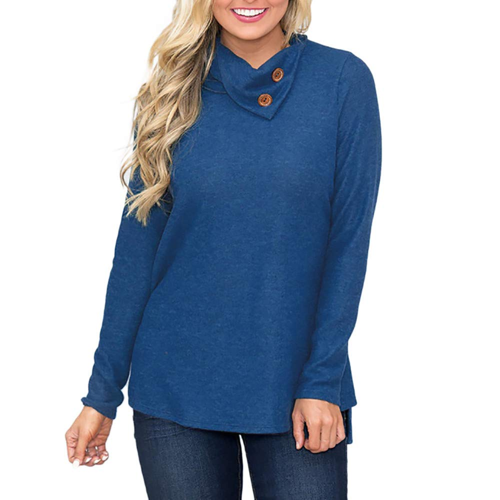 Hanomes Damen pullover, Mode Frauen Skew Kragen Solid Botton Langarm Sweatshirt Pullover Bluse