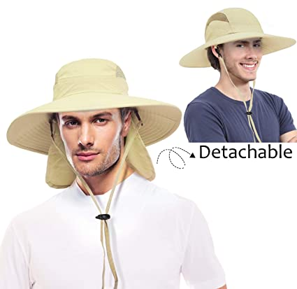 f35a251deb2c0 Fishing Hats for Men Women with UV Sun Protection Wide Brim Boonie Hat with  Removable Neck