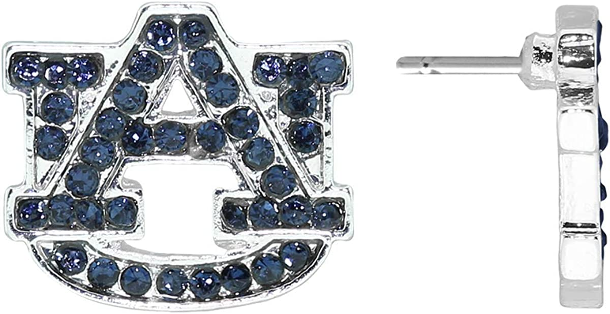 4095 Auburn Evermore Crystal Stud Logo Earrings