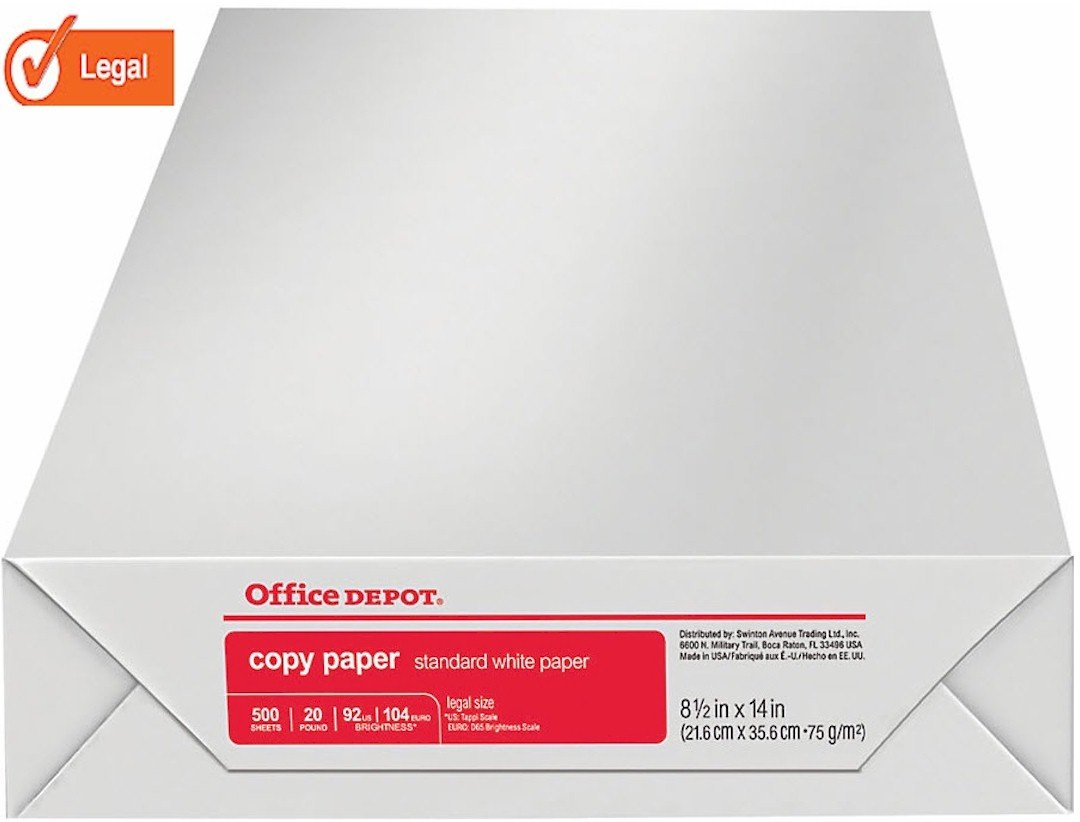 Office Depot Legal Size Copy Laser Inkjet Printer Paper 317339 500 Total Sheets 20 lb. 8 1//2 x 14 inch Acid Free 92 Bright White Ream