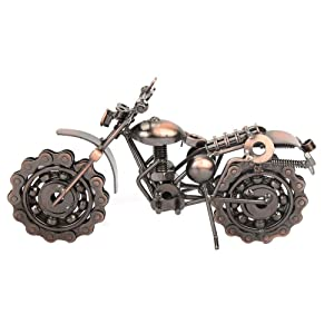 Vintage Motorcycle Model,Bronze Art Sculpture Office Home Desktop Decor Chainwheel Motorcycle Model,Handcrafted Iron Motorbike Model Collectible Boys Toy Gift