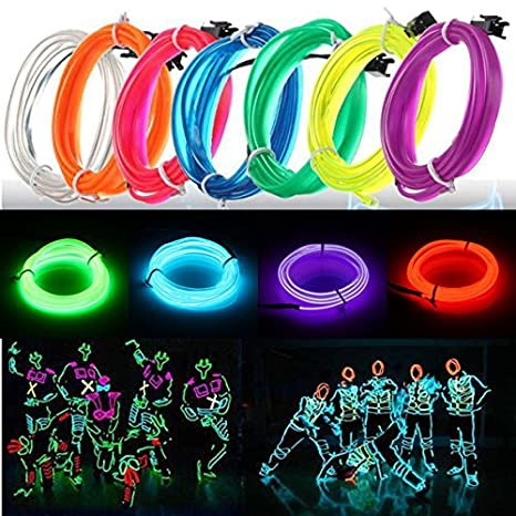 Amazon.com: Lights & Lighting - 3m Led ble El Wire Neon Glow Light ...