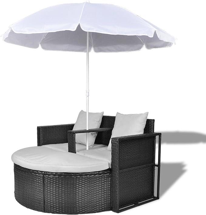 Anself Set lounge da giardino in polirattan con parasole da esterno nero