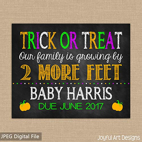 Halloween Pregnancy Announcement Trick or Treat Fall Pregnancy Maternity Photo Prop Pregnancy Announcement Canvas Print ()
